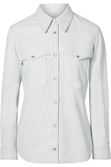 Nile Leather Shirt, White