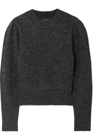 ISABEL MARANT Belaya Cropped Wool Sweater in 02An Anthra