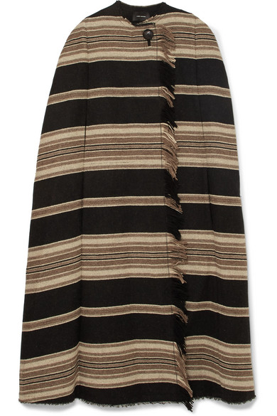 Huan Fringed Striped Wool-Blend Cape in Black