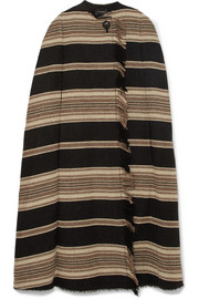 Isabel Marant Huan fringed striped wool-blend cape