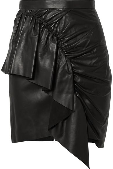 Nela Ruffled Leather Mini Skirt in Black