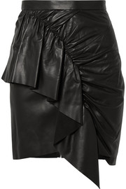 Nela ruffled leather mini skirt