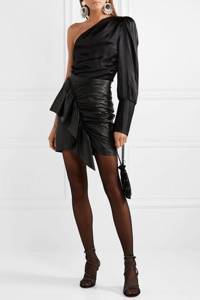 Isabel Marant Skirts Nela ruffled leather mini skirt