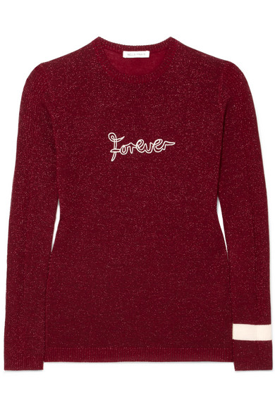 Bella Freud - Forever Metallic Wool-blend Sweater - Burgundy