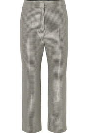 Ralph & Russo Cropped houndstooth wool-blend slim-leg pants
