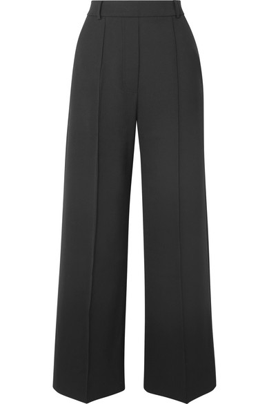 Moneta Stretch-Twill Wide-Leg Pants, Black