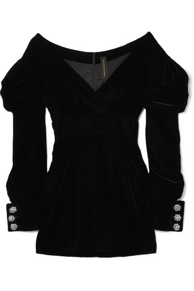 Alexandre Vauthier - Off-the-shoulder Velvet Mini Dress - Black