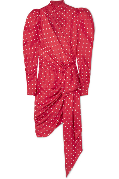 Alexandre Vauthier - Asymmetric Polka-dot Silk-twill Mini Dress - Red