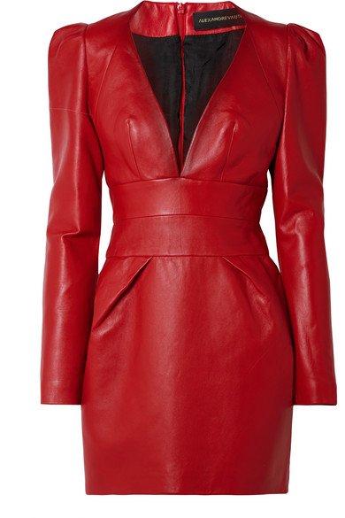 Alexandre Vauthier - Leather Mini Dress - Red