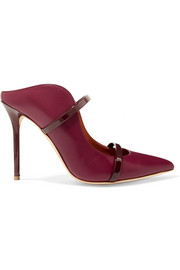Malone Souliers by Roy Luwolt Maureen 100 patent-trimmed leather mules