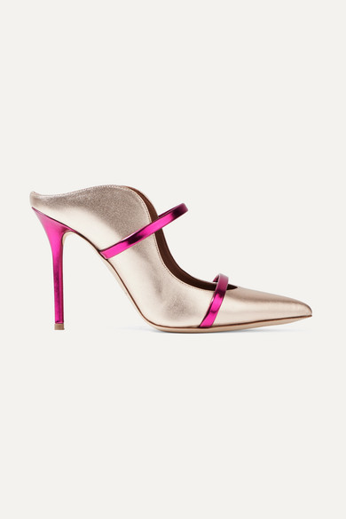 Malone Souliers - Maureen Metallic Leather Mules - Silver