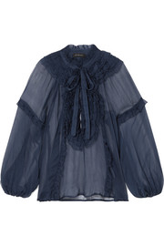 Bluebell ruffled crinkled silk-georgette blouse