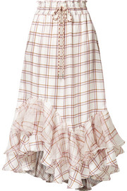 Holly ruffled checked silk midi skirt
