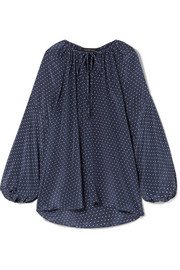 Queenie polka-dot silk crepe de chine top