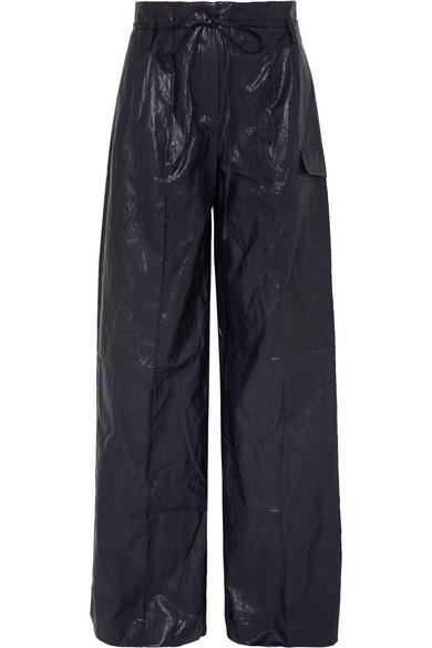 REJINA PYO Eve crinkled faux leather wide-leg pants