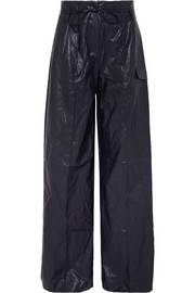 Eve crinkled faux leather wide-leg pants