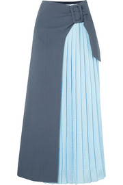 REJINA PYO Linda wrap-effect pleated two-tone crepe and cotton-blend twill maxi skirt