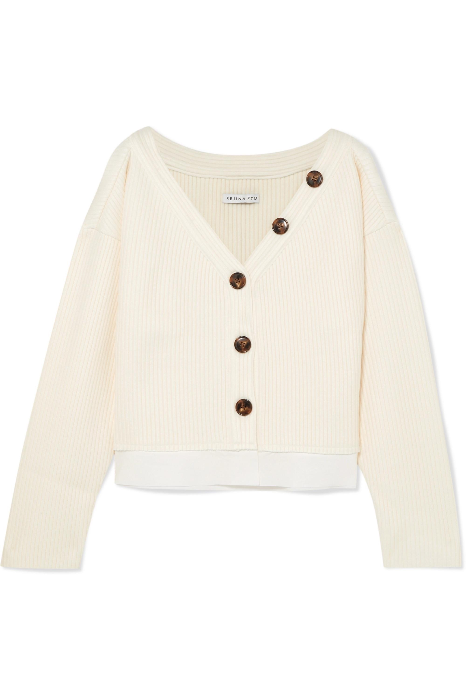 REJINA PYO Ella off-the-shoulder cotton-trimmed ribbed-knit cardigan