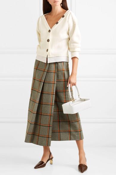 a9eb6e97456fad REJINA PYO. Ella off-the-shoulder cotton-trimmed ribbed-knit cardigan