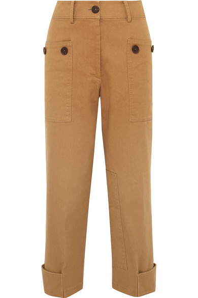 Hazel Cropped Cotton-Blend Twill Straight-Leg Pants in Brown