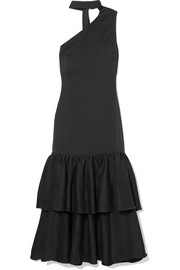 REJINA PYO Lizzie asymmetric tiered woven midi dress