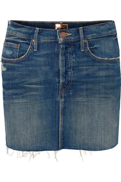 Mother - The Vagabond Distressed Denim Mini Skirt - Mid denim