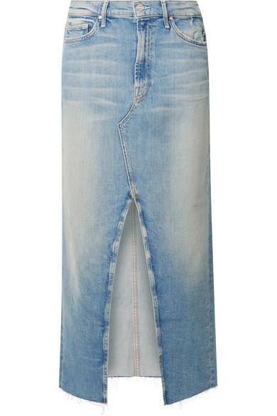 The Altered Sacred Frayed Denim Midi Skirt