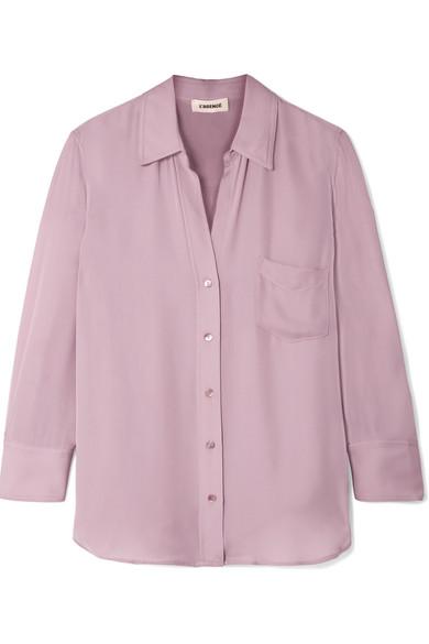Ryan Washed-Silk Shirt, Lavender