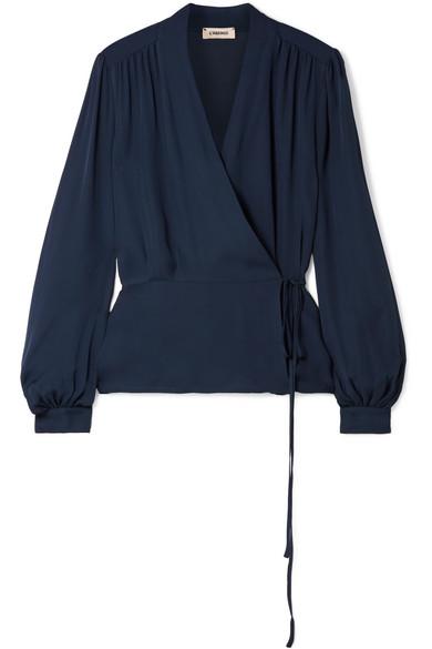 L'Agence - Cara Silk Wrap Blouse - Navy