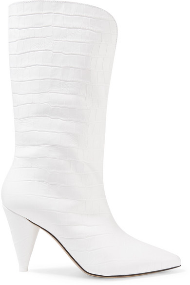 85Mm Betta Croc Embossed Leather Boots in White