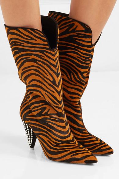 69351f055c6 Attico   Betta crystal-embellished tiger-print calf hair knee boots ...