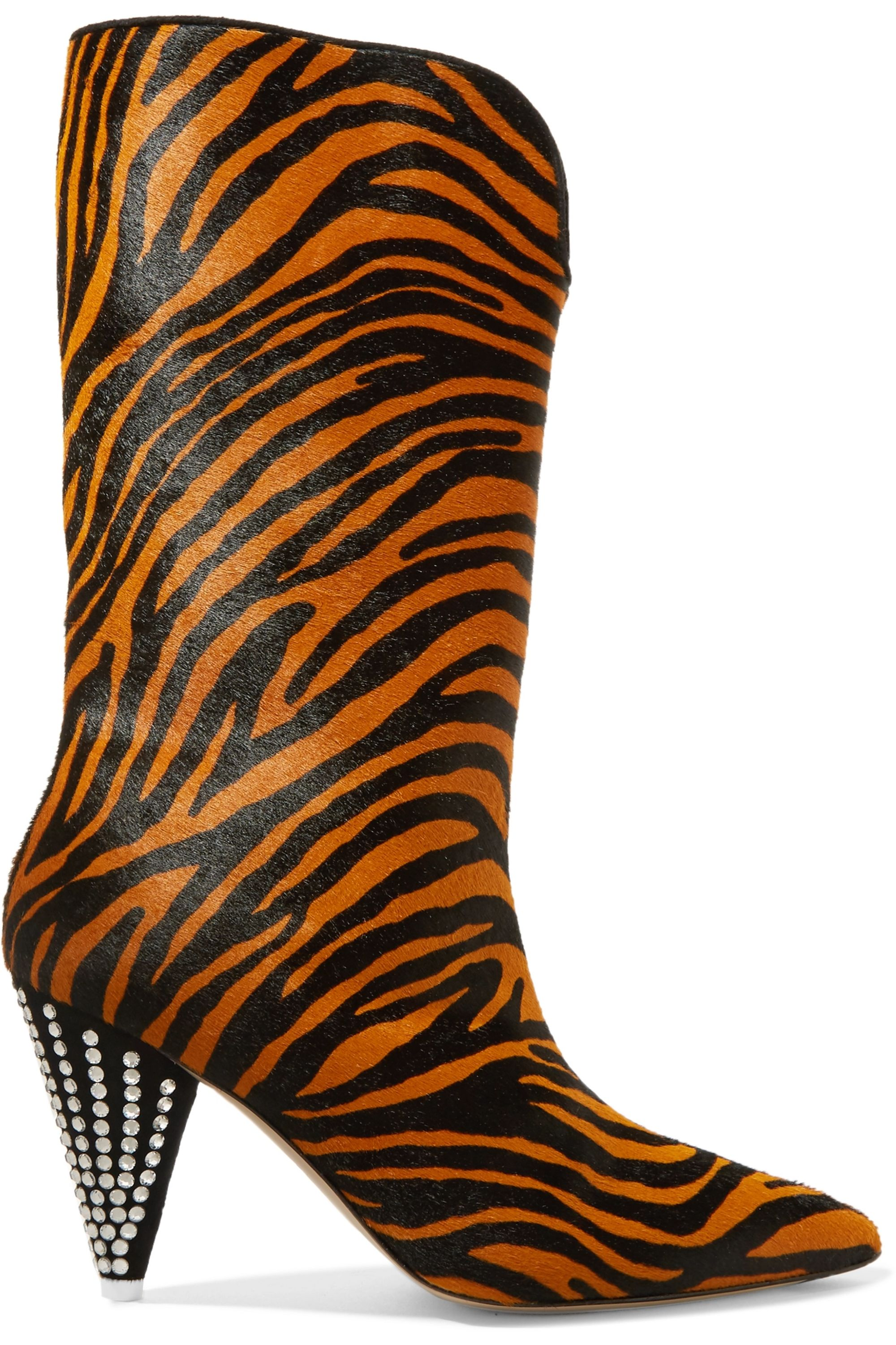 The Attico Betta crystal-embellished tiger-print calf hair knee boots