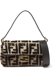 Fendi Baguette printed shearling shoulder bag