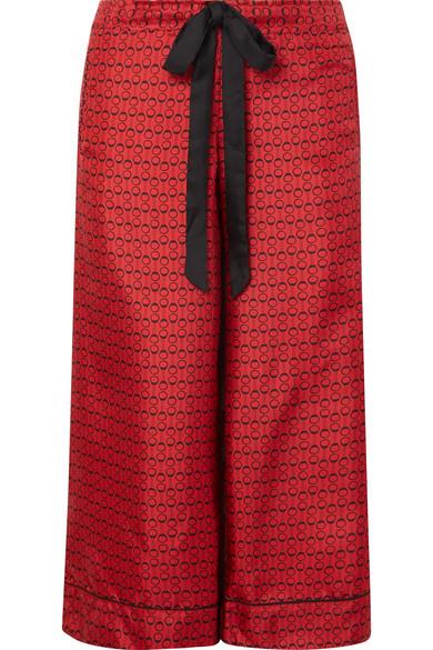 Desir Cropped Printed Silk-Twill Pajama Pants in Red
