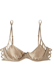 Stretch-silk satin underwired balconette bra