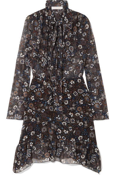 See By Chloé - Pussy-bow Printed Georgette Dress - Blue