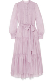 See By Chloé Belted tiered organza midi dress