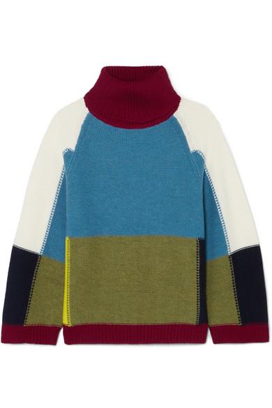 90c7b25cc5 Color-block wool turtleneck sweater
