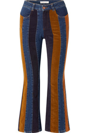 Cropped corduroy-paneled high-rise flared jeans