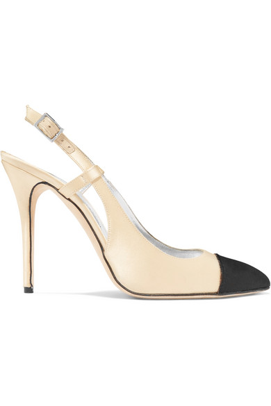ALESSANDRA RICH Two-Tone Satin Slingback Pumps in Beige