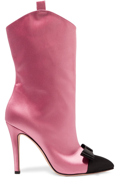 ALESSANDRA RICH Bow-Embellished Two-Tone Satin Ankle Boots in Baby Pink