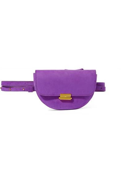 """Anna"" Buckle Belt Bag In Purple Suede"