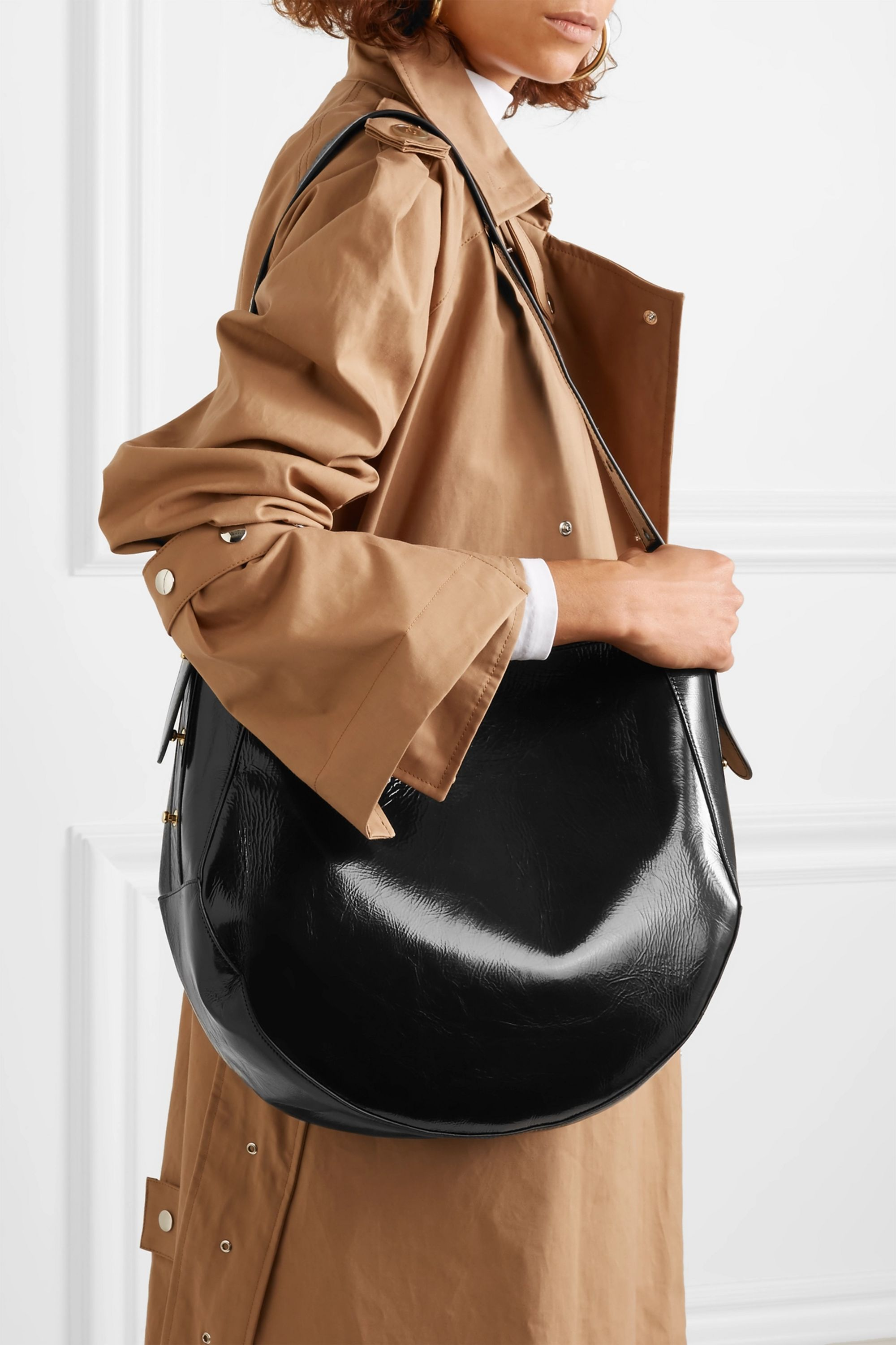 Wandler Corsa glossed textured-leather tote