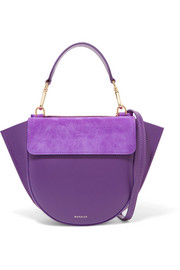 Hortensia mini leather and suede shoulder bag