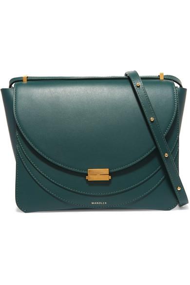 Luna Leather Shoulder Bag in Forest Green