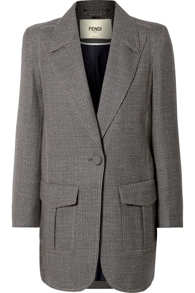 Checked Wool-Blend One-Button Blazer - Gray Size 40 It