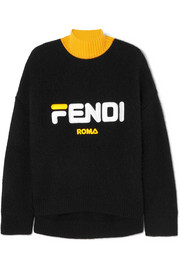Fendi + Fila embroidered wool and cashmere-blend turtleneck sweater