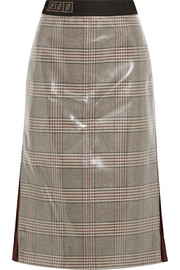 Fendi Prince of Wales chiffon-trimmed checked glossed-wool midi skirt