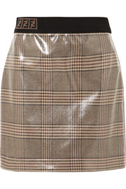 Fendi Prince of Wales checked glossed-wool mini skirt