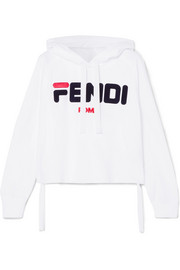 Fendi Embroidered cotton-jersey hoodie